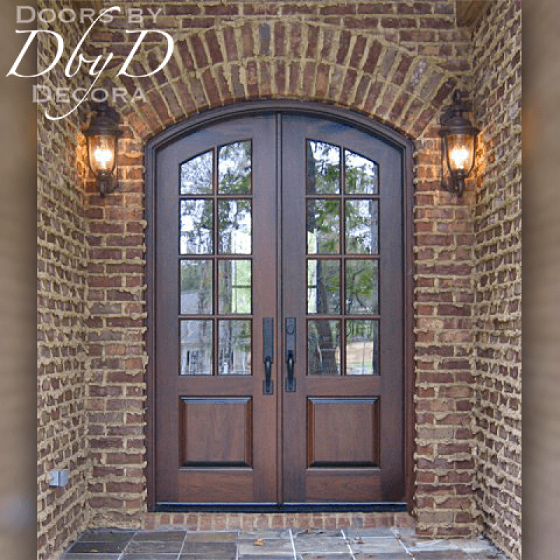 True divided lite country french style double doors.