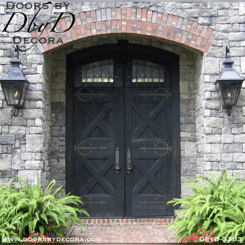 Beautiful old world style doors custom designed and built by Doors by Decora.