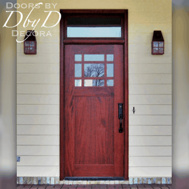 Traditional craftsman style door and transom.