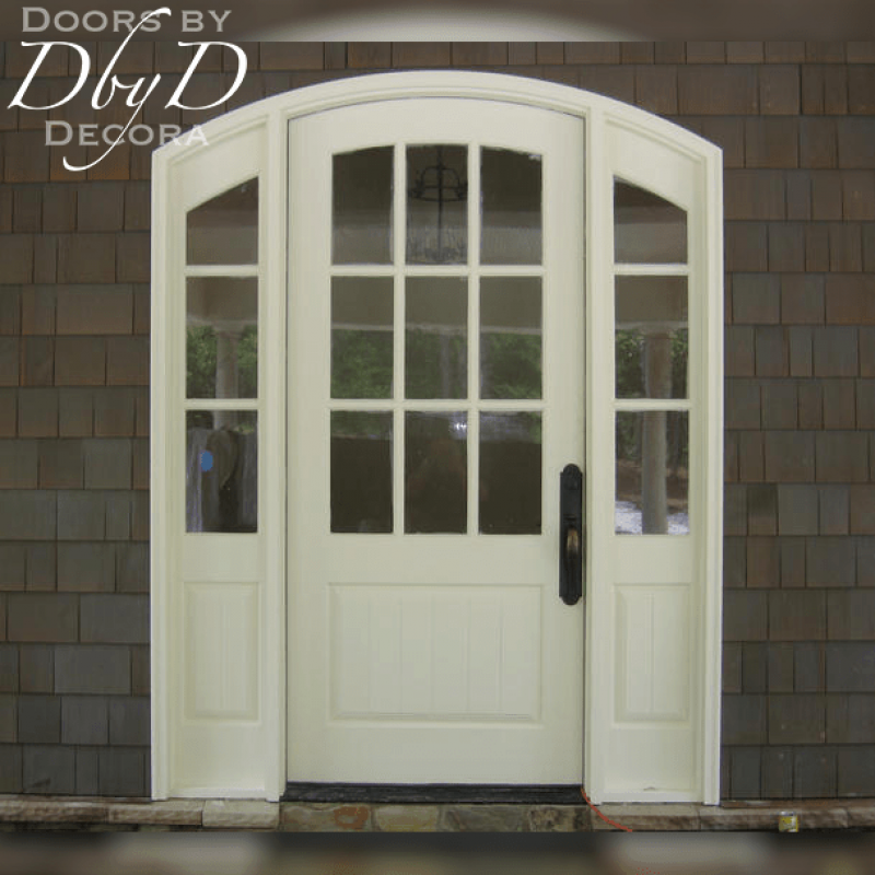 This beautiful craftsman style entrance features true divided lites and raised v-groove panels.
