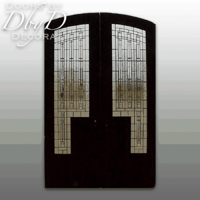 This is a good shot showing the craftsman style leaded glass in these double doors.