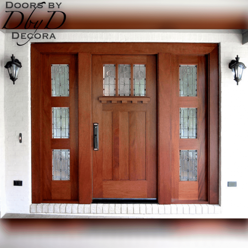 This beautiful craftsman style front entry features a door and two side lites all featuring leaded glass.