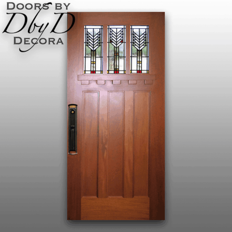 A very traditional craftsman style door featuring Frank Lloyd Wright style leaded glass.