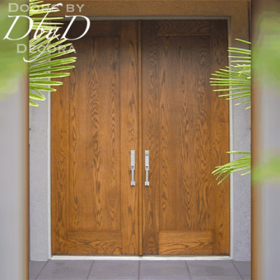 A close-up look at these contemporary oak double doors.