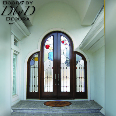 An exterior view of the art nouveau leaded glass in this beautiful contemporary door unit.