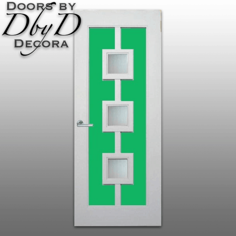 Bold colors, unique panel configurations, and fluted glass make this door look ultra modern.