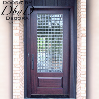 This contemporary door features leaded beveled glass in a geometric pattern.