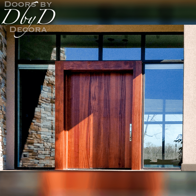 This contemporary door is designed to look extra wide even though it is standard.