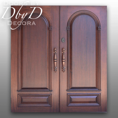 A pair of beautiful solid wood doors custom designed and built by Doors by Decora.