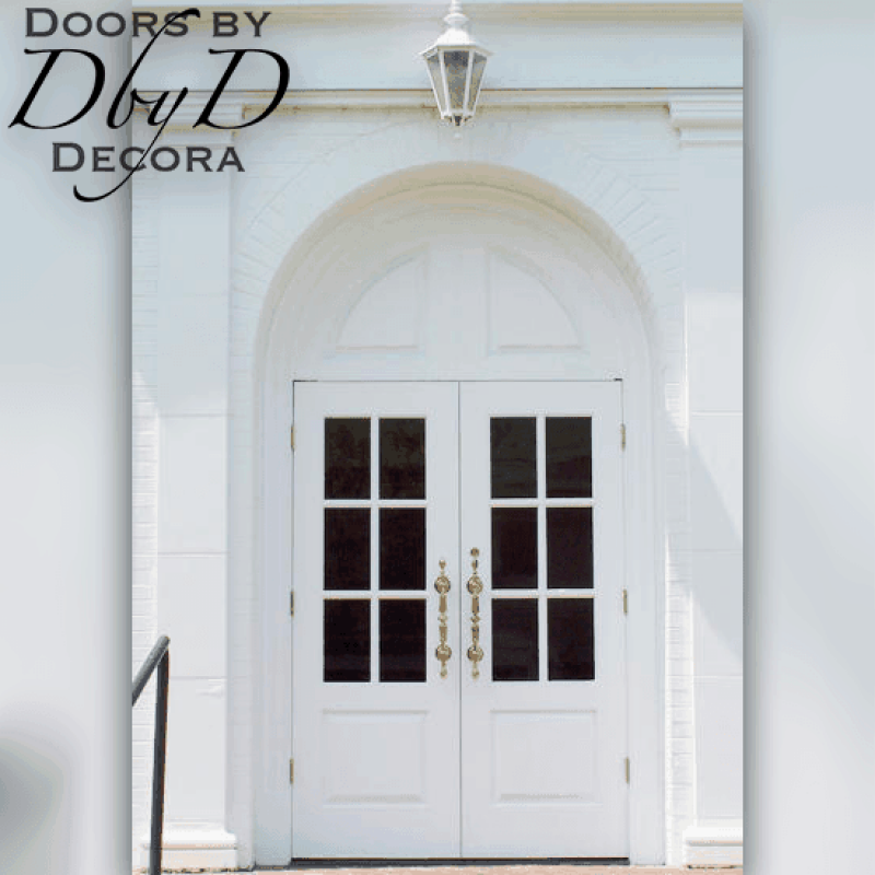 This stunning pair of traditional true divided light doors grace the front of this church.